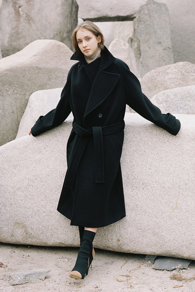 DOUBLE WOOL LONG COAT BLACK (WOMEN)