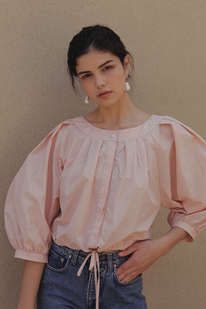 VOLUME CROPPED BLOUSE PEACH PINK