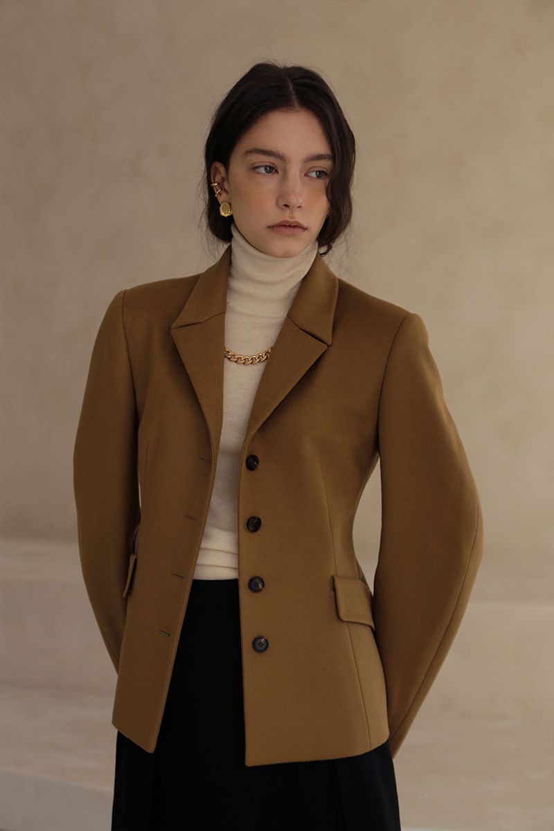 CASHMERE Hourglass Silhouette Jacket - CAMEL